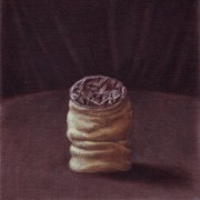 show up anyway - panel III (2008) oil on linen, 20 x 20cm